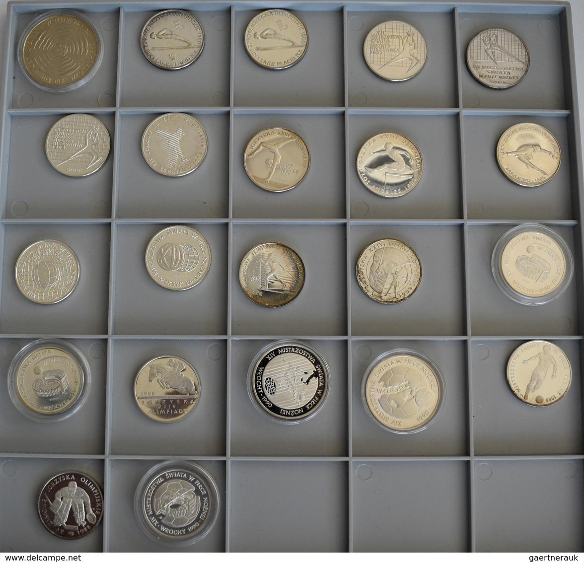 Polen: Sammlung 22 Diverse Münzen Aus Polen, Sportmotive Wie Olympiade Oder Fußball, 21 Münzen Aus S - Pologne