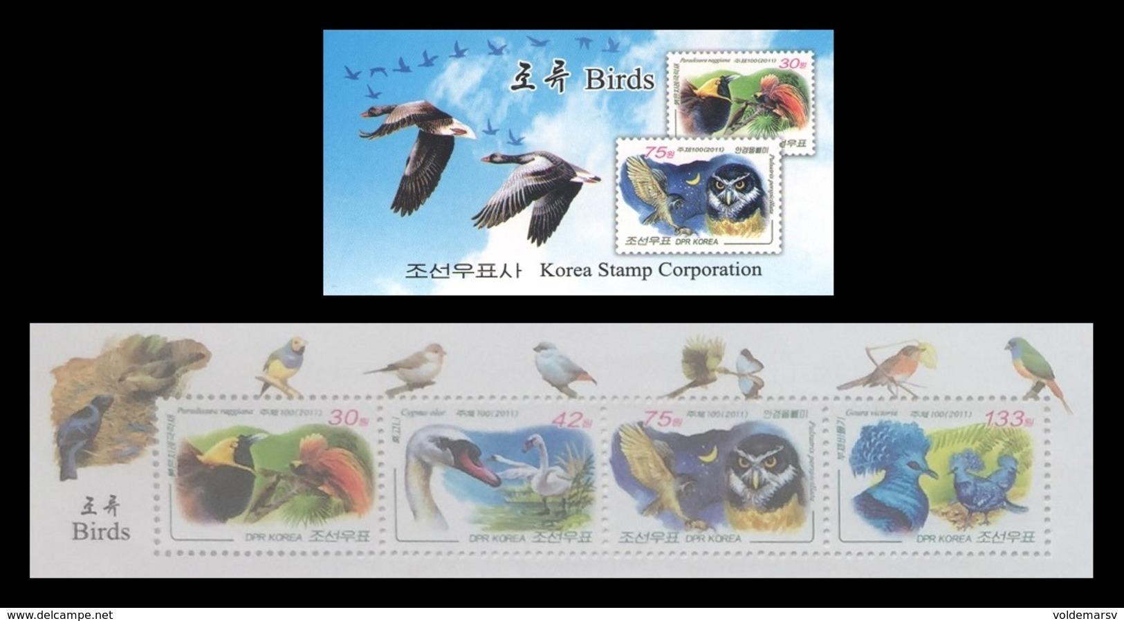 North Korea 2011 Mih. 5693/96 Fauna. Birds (booklet) MNH ** - Korea (Nord-)