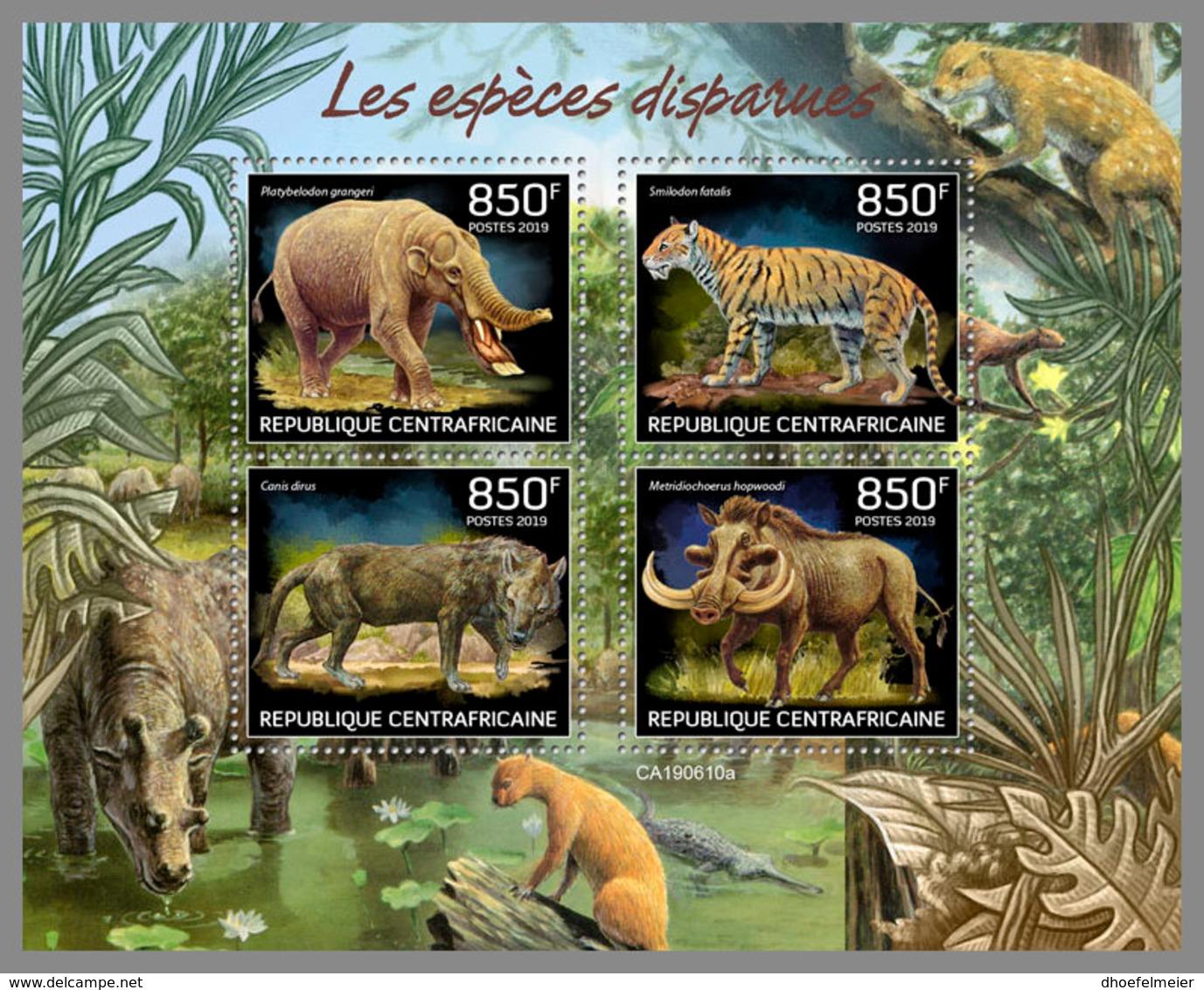CENTRALAFRICA 2019 MNH Extinct Species Ausgestorbene Tiere Especes Disparues M/S - OFFICIAL ISSUE - DH1937 - Prehistorics