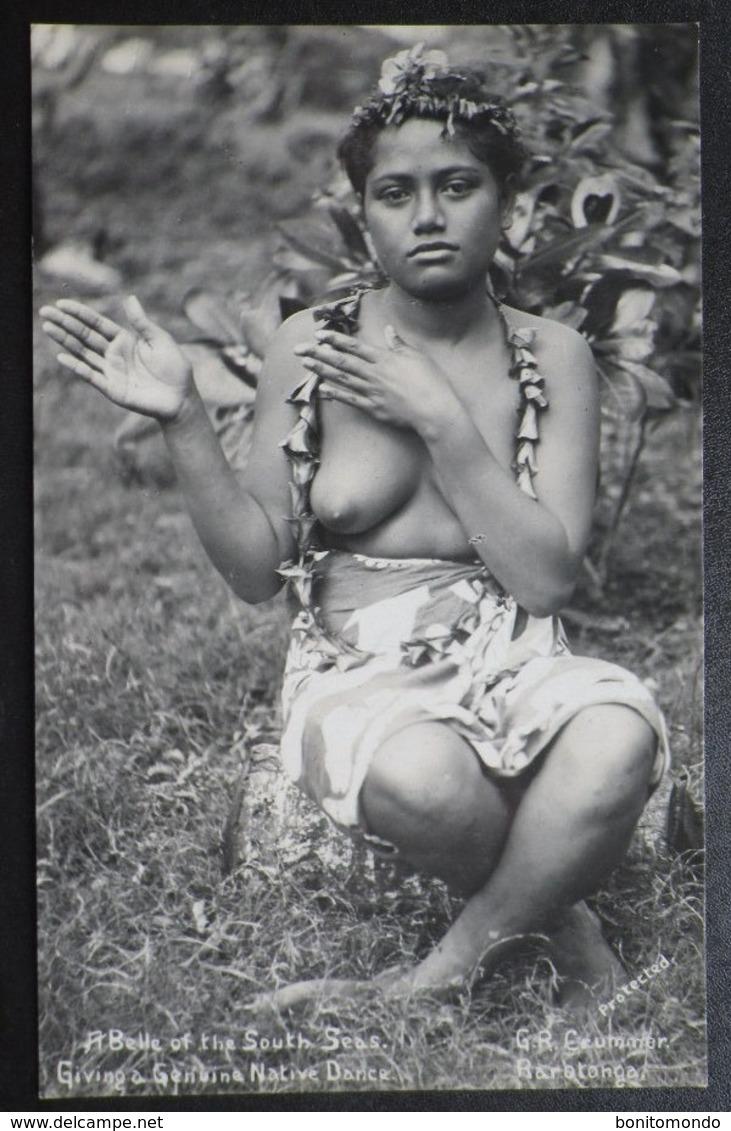 Belle Of The South Seas Giving A Genuine Native Dance RP Postcard. Rarotonga. G.R Crummer - Cook Islands