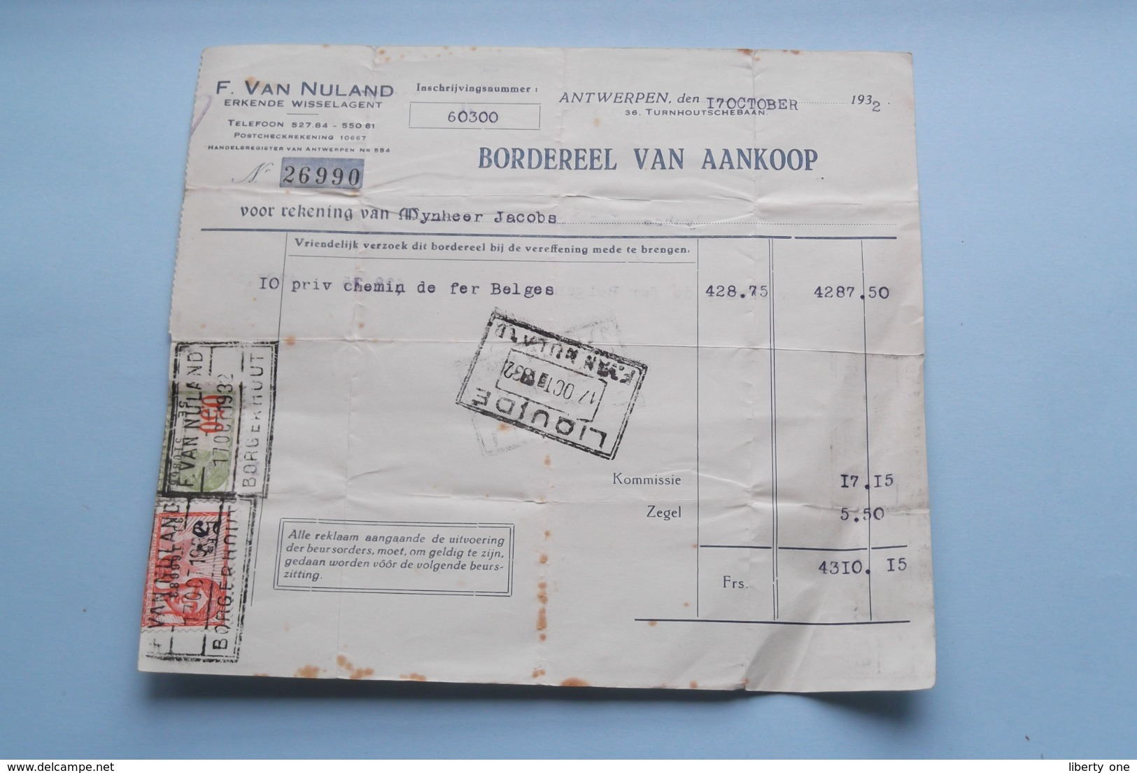 F. Van NULAND WISSELAGENT BORGERHOUT Antwerpen > BORDEREEL Van Aankoop Anno 1932 ( Zie Foto's ) 1 Stuk ! - Banque & Assurance