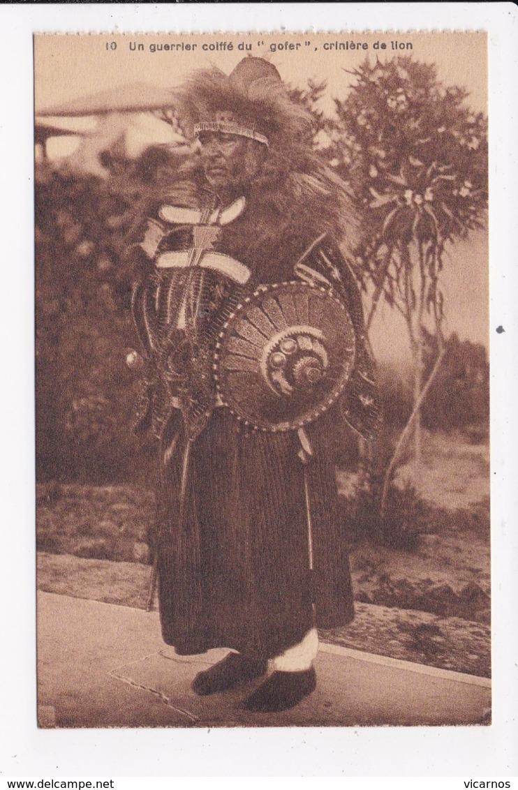 """CP ETHIOPIE Un Guerrier Coiffé Du """"Gofer"""" Criniere De Lion - Ethiopia"""
