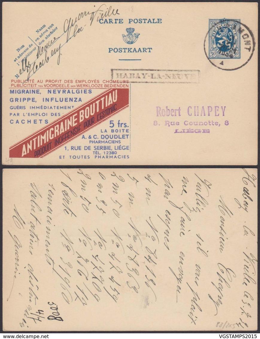 """BELGIQUE EP PUBLI GRIFFE """"HABAY-LA-NEUVE"""" 03/07/1934 VERS LIEGE  (DD) DC-4067 - Publibels"""
