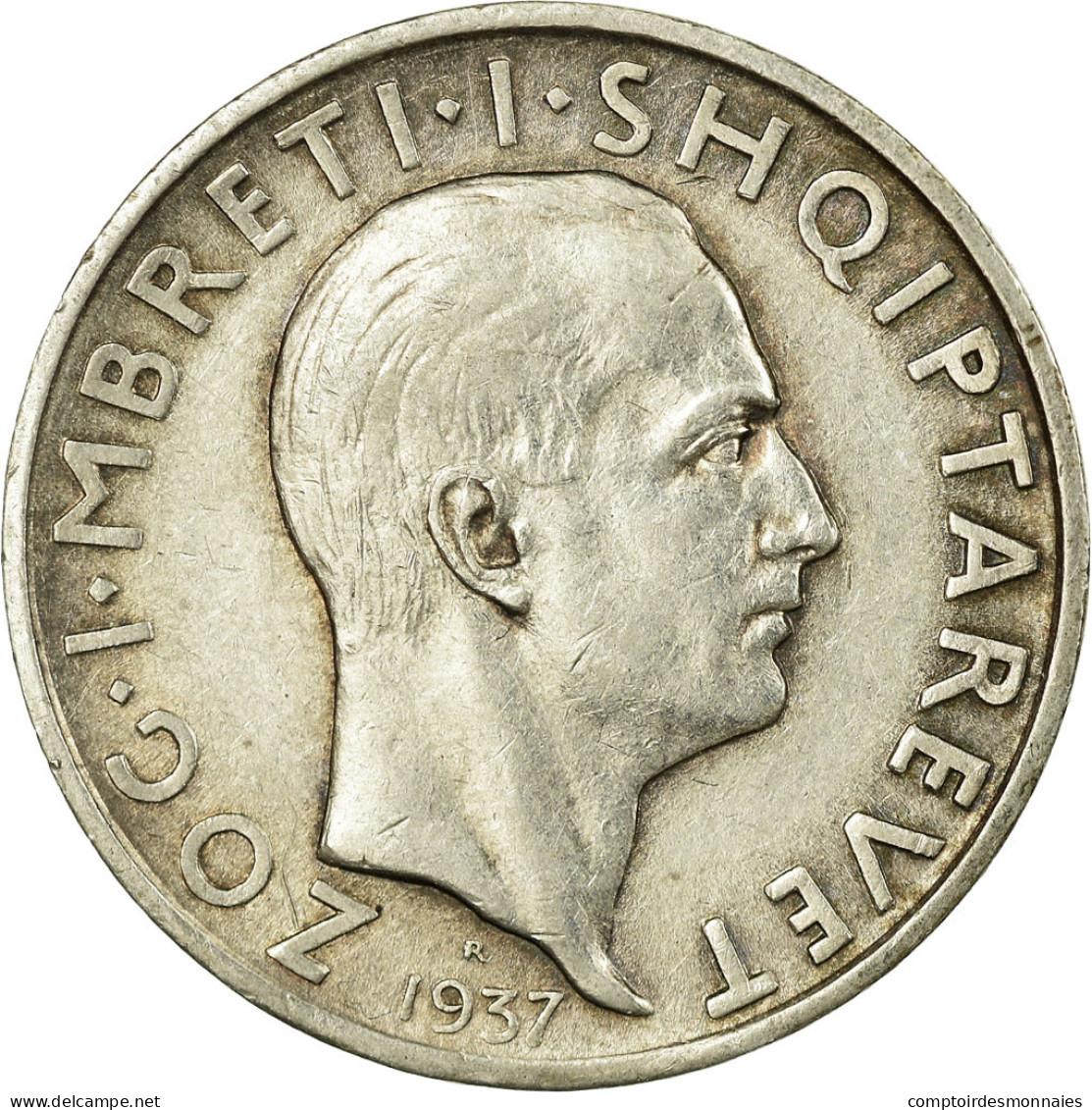 Monnaie, Albania, Zog I, Frang Ar, 1937, Rome, TTB, Argent, KM:16 - Albanie