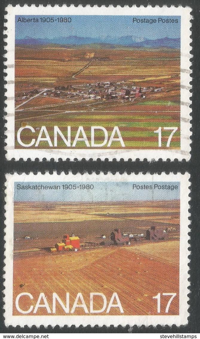 Canada. 1980 75th Anniv Of Alberta And Saskatchewan Provinces. Used Complete Set. SG 986-987 - 1952-.... Reign Of Elizabeth II
