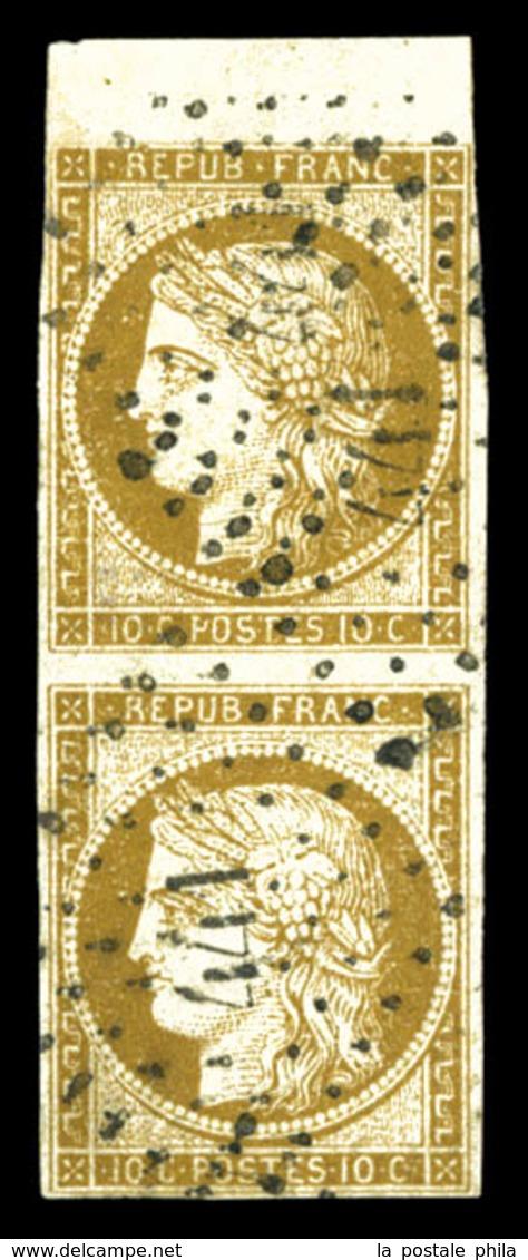 O N°1, 10c Bistrebrun, Paire Obl Pc, Bord De Feuille. TTB (signé Brun/certificat)  Qualité: O  Cote: 1050 Euros - 1849-1850 Ceres