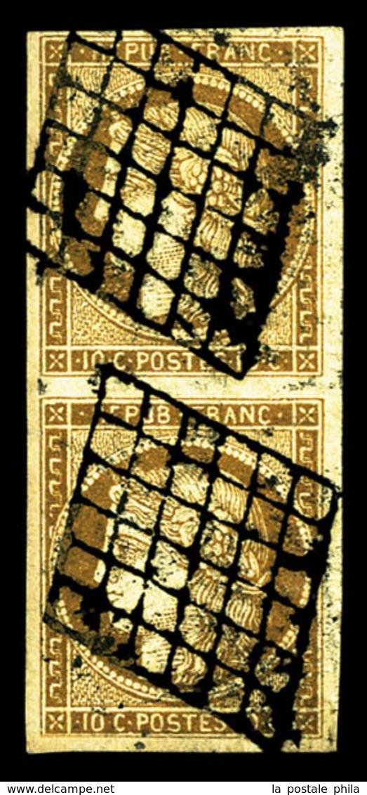 O N°1b, 10c Bistreverdâtre En Paire Verticale, TB (signé Brun/certificat)  Qualité: O  Cote: 1450 Euros - 1849-1850 Ceres