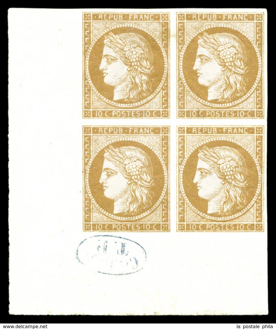 ** N°1f, 10c Bistre, Impression De 1862 En Bloc De Quatre (2ex*) Coin De Feuille Avec Cachet De Contrôle TP En Bleu. Fra - 1849-1850 Ceres