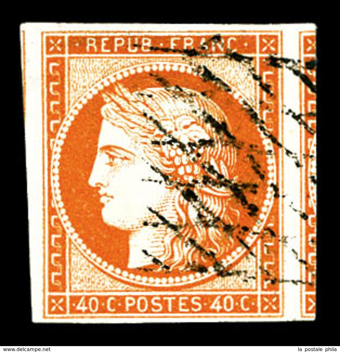 O N°5, 40c Orange Obl Grille Sans Fin, Grandes Marges Avec Voisins. SUP (signé Calves/Scheller/certificat)  Qualité: O - 1849-1850 Ceres
