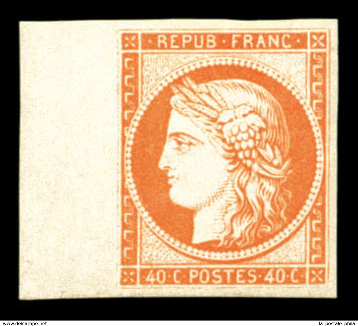 ** N°5g, 40c Orange, Impression De 1862, Bord De Feuille Latéral, Fraîcheur Postale. SUP (certificat)  Qualité: ** - 1849-1850 Ceres