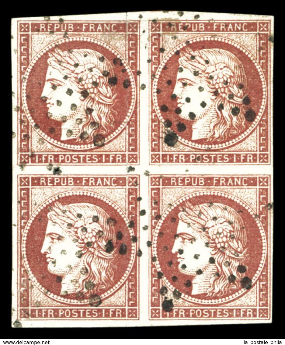 O N°6, 1F Carmin, Bloc De Quatre Obl étoile, Légers Défauts. Pièce Superbe D'aspect. R.R. (certificats)  Qualité: O  Cot - 1849-1850 Ceres