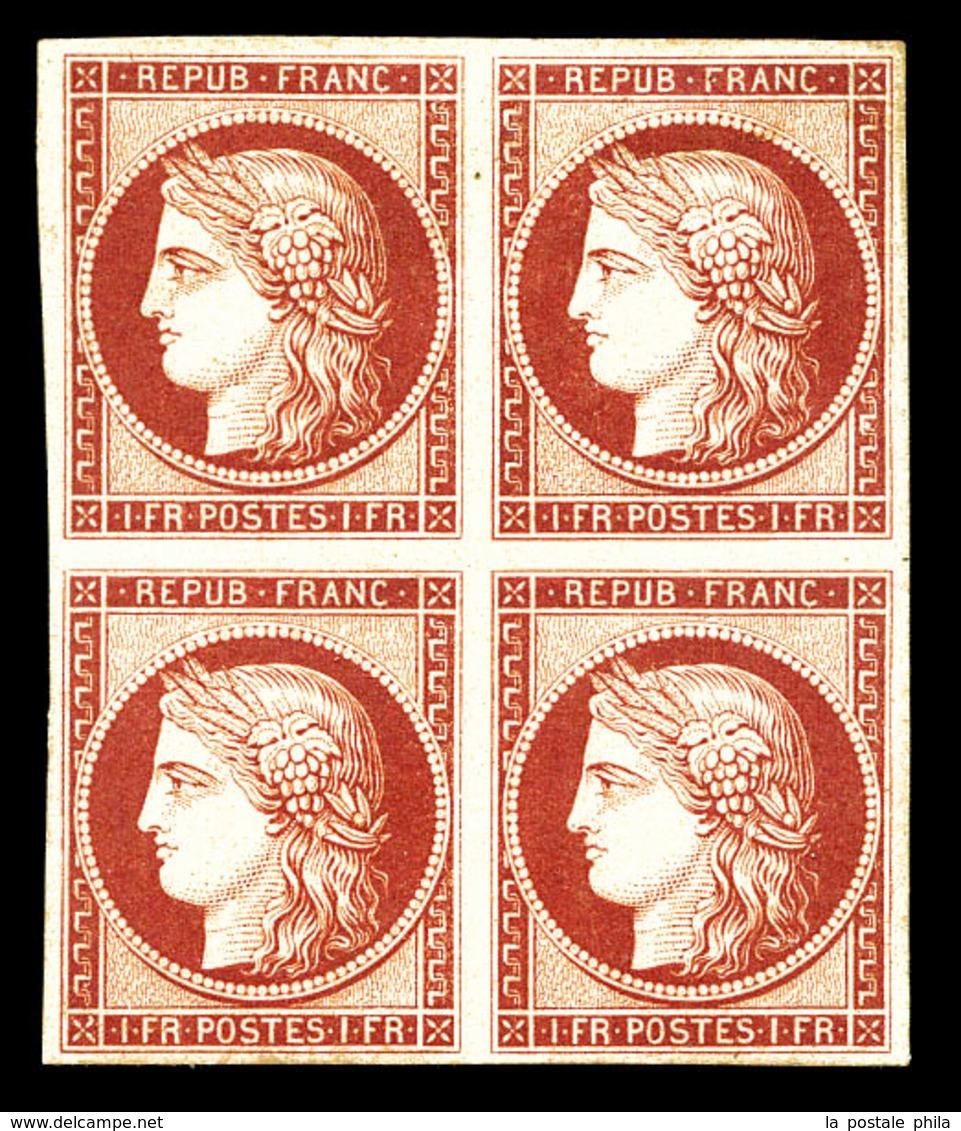 ** N°6f, 1F Carmin, Impression De 1862 En Bloc De Quatre (2ex*). SUPERBE. R. (certificat)  Qualité: ** - 1849-1850 Ceres