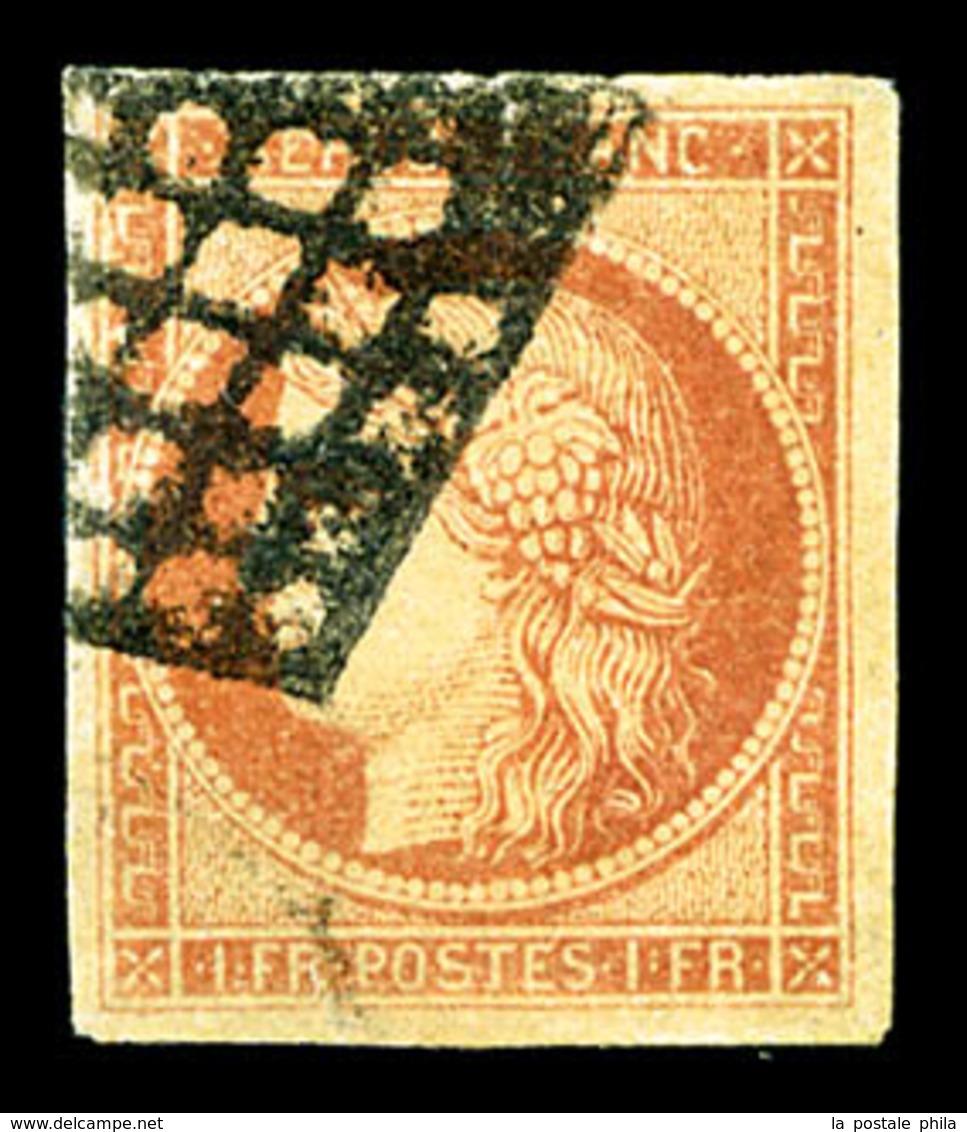 O N°7, 1F Vermillon, Légère Restauration, R.R.R (certificat)  Qualité: O  Cote: 20000 Euros - 1849-1850 Ceres