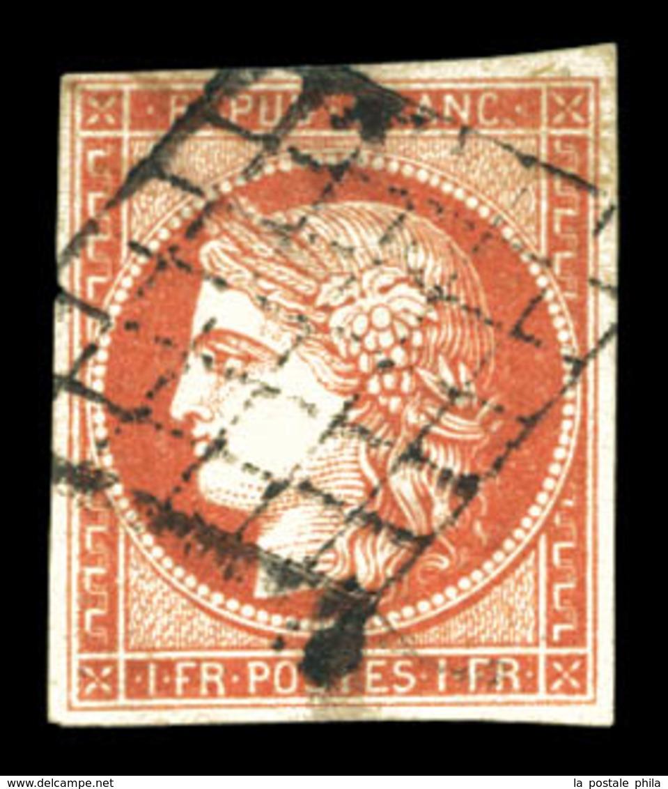 O N°7a, 1F Vermillon Vif, Oblitération Grille, Très Jolie Pièce. SUP. R.R. (signé Brun/certificats)  Qualité: O  Cote: 2 - 1849-1850 Ceres