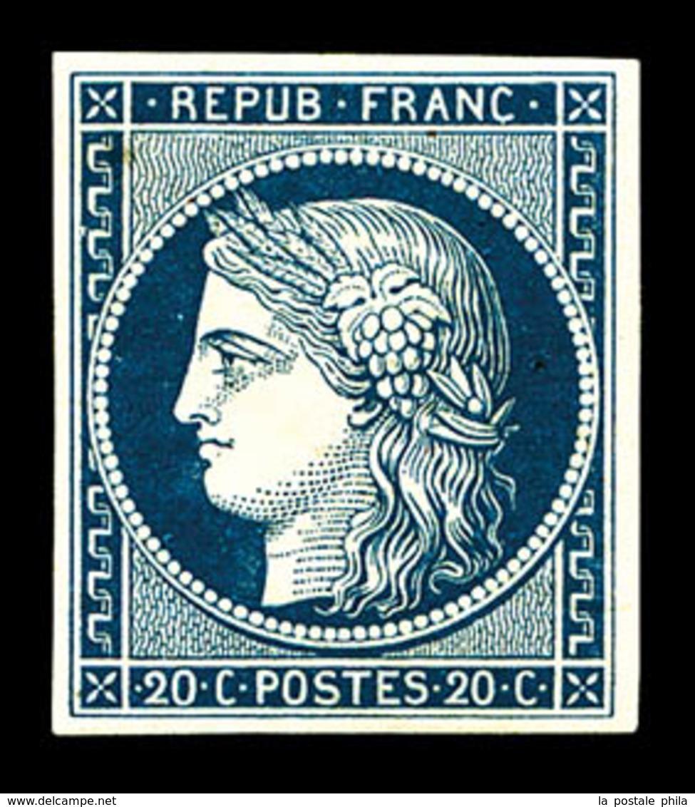 * N°8a, Non émis, 20c Bleu Foncé, RARE Et SUPERBE (signé Calves/certificats)  Qualité: *  Cote: 4200 Euros - 1849-1850 Ceres