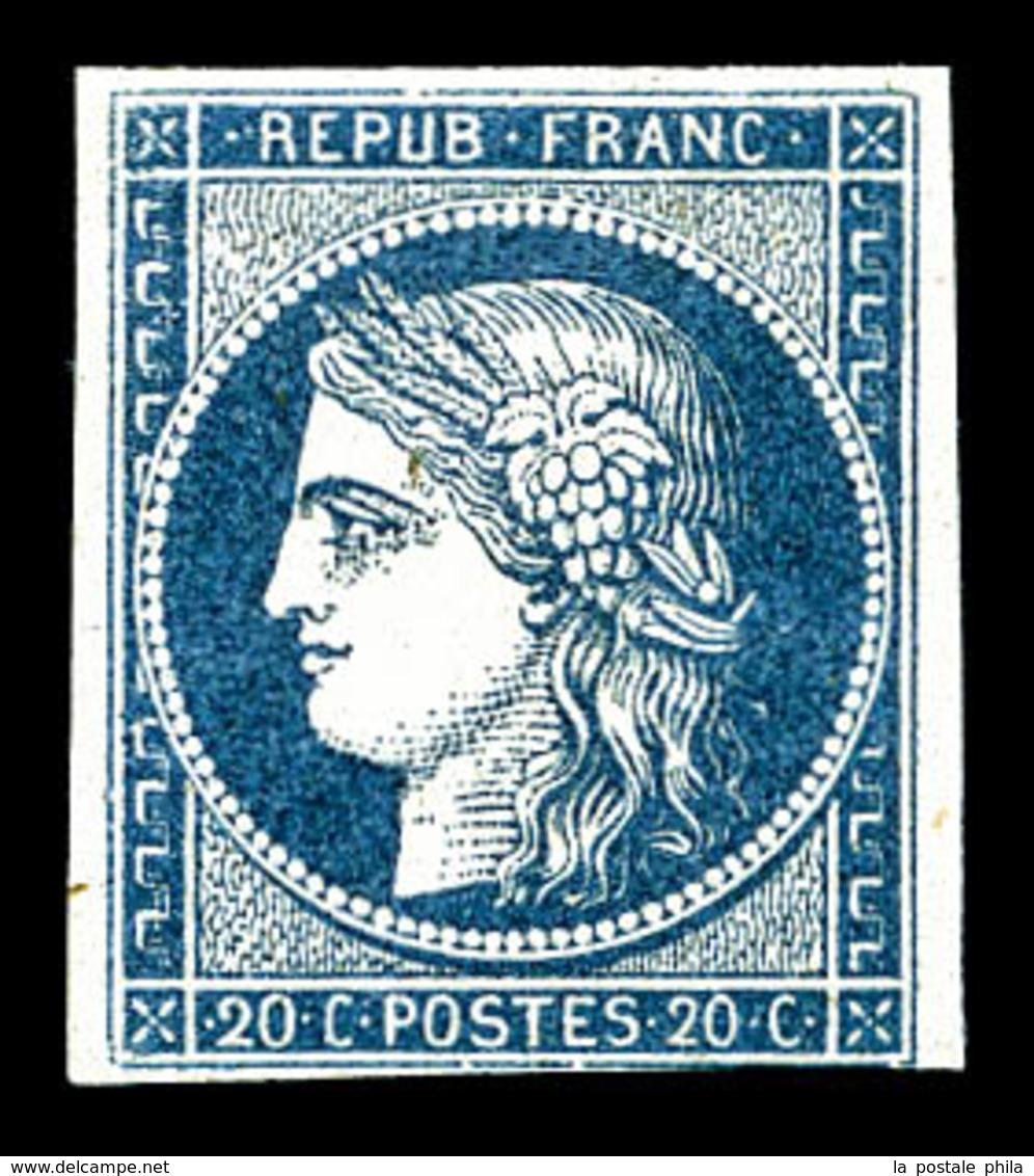 * N°8a, Non émis, 20c Bleu Foncé, Grande Fraîcheur, RARE Et TB (certificat)   Qualité: *  Cote: 4200 Euros - 1849-1850 Ceres