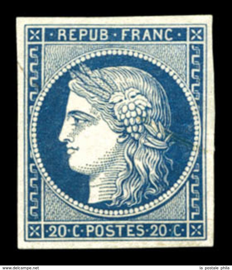 (*) N°8a, Non émis, 20c Bleu Foncé, Grande Fraîcheur, R.R. SUP (signé Scheller/certificat)  Qualité: (*)  Cote: 3400 Eur - 1849-1850 Ceres