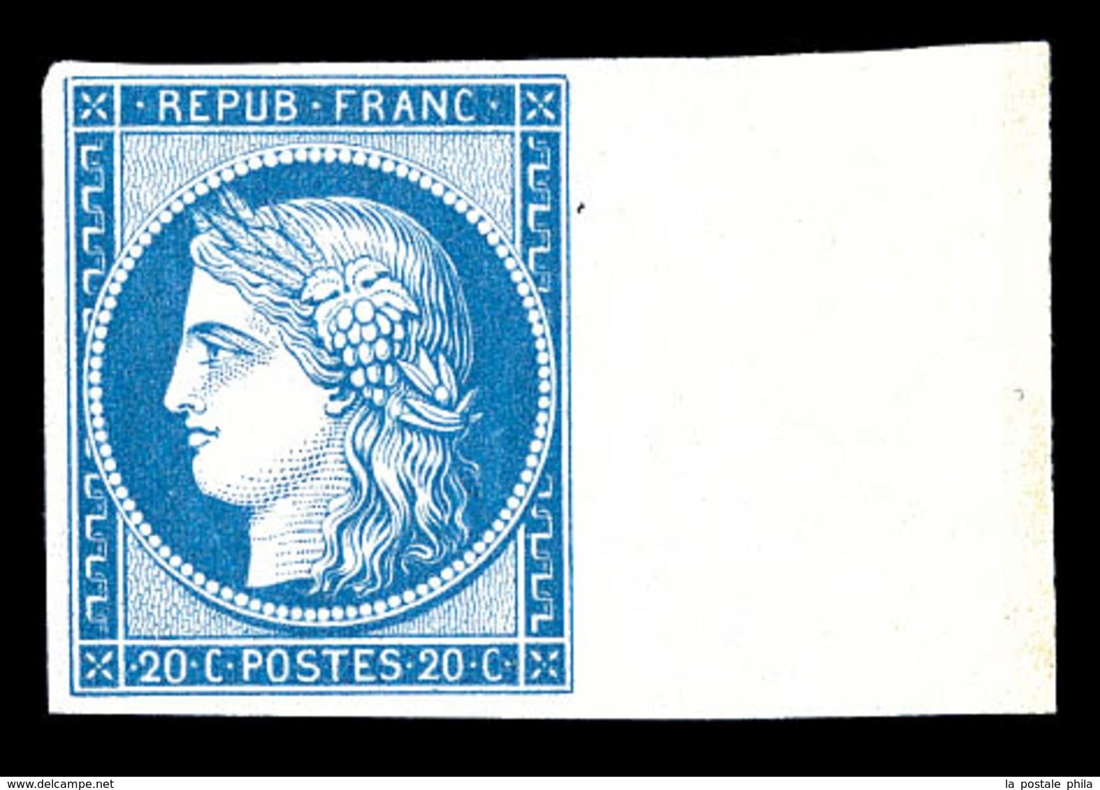 ** N°8f, Non émis, 20c Bleu Impression De 1862 Bord De Feuille Latéral, Fraîcheur Postale, SUPERBE (certificat)   Qualit - 1849-1850 Ceres