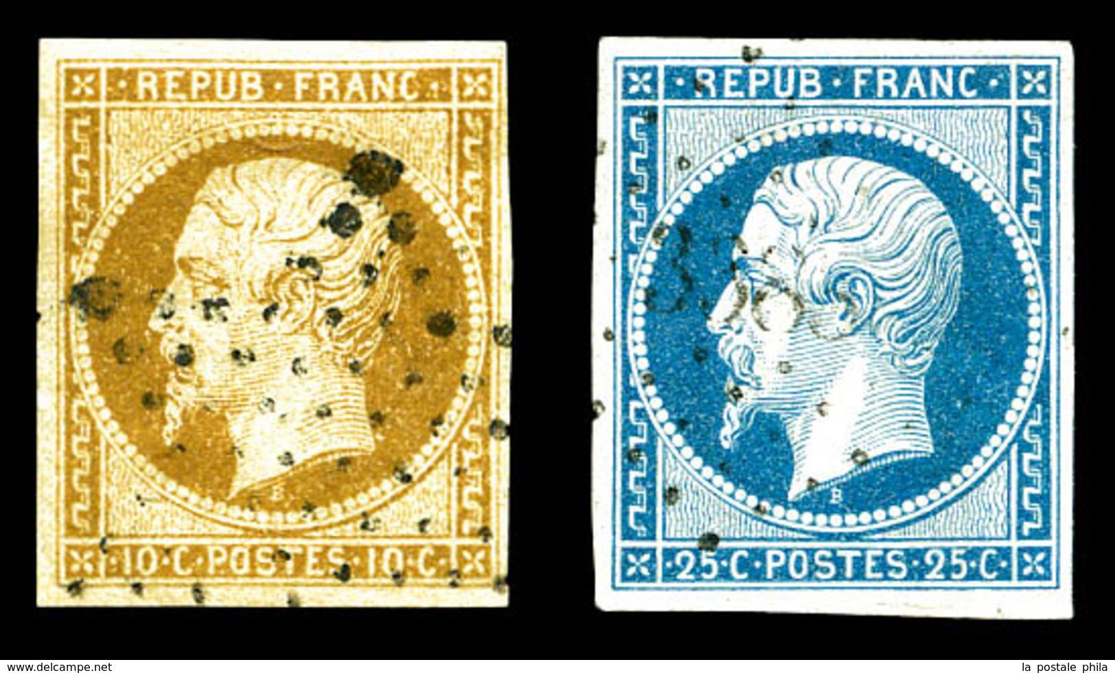 O N°9/10, La Paire Obl PC. TB (certificat)  Qualité: O  Cote: 845 Euros - 1852 Luis-Napoléon