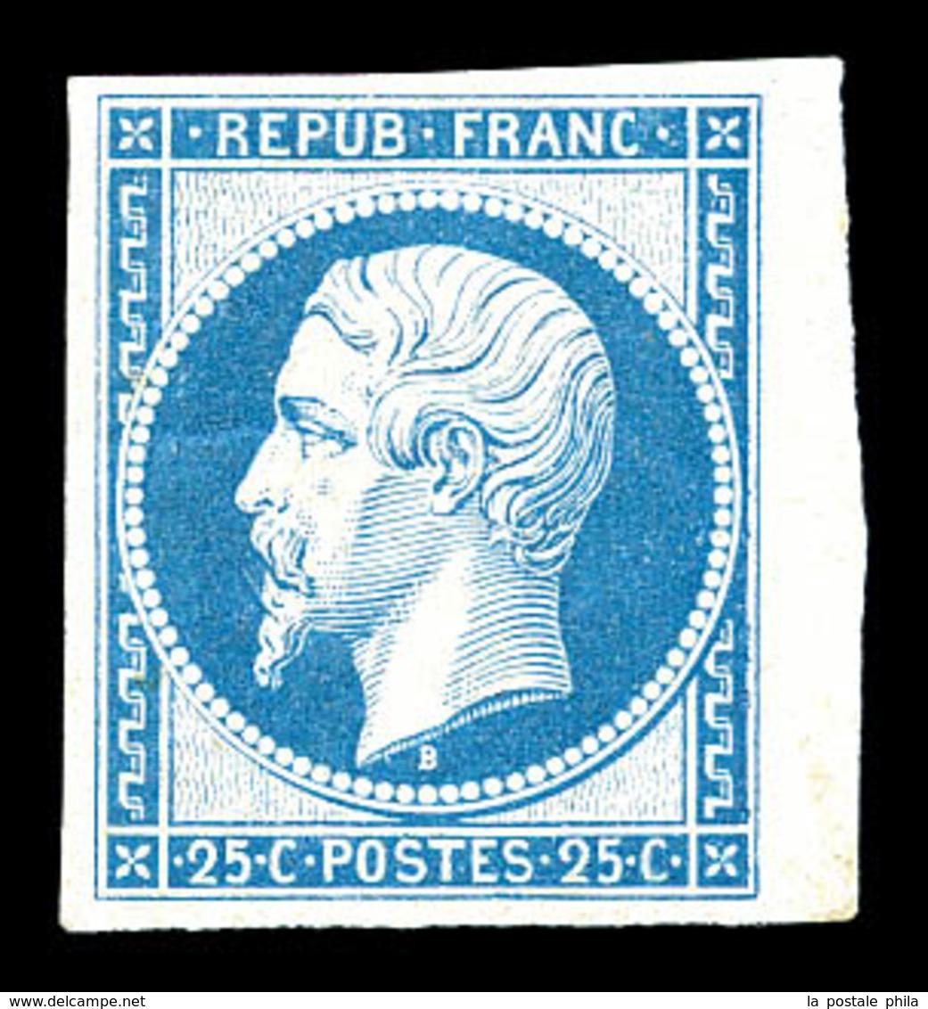 * N°10c, 25c Bleu, Impression De 1862 Bdf, Frais. TB (certificat)  Qualité: *  Cote: 600 Euros - 1852 Luis-Napoléon