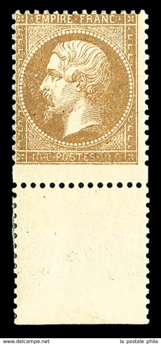 ** N°21, 10c Bistre: VARIÉTÉ PIQUAGE DECALE (timbre Plus Grand), Bas De Feuille, FRAÎCHEUR POSTALE, SUPERBE (signé Calve - 1862 Napoleon III