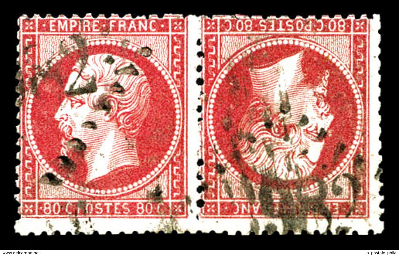 O N°24b, 80c Rose, Paire Têtebêche Horizontale, Quelques Dents à Peine Courtes Sinon TB (certificats)  Qualité: O  Cote: - 1862 Napoleon III