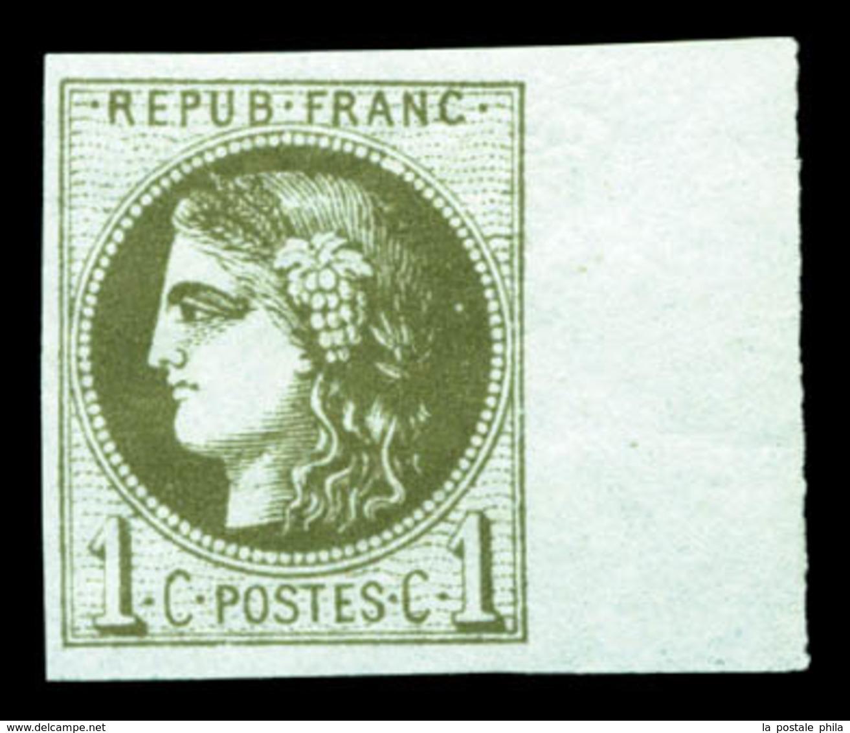 ** N°39C, 1c Olivefoncé Bdf, Fraîcheur Postale. TTB  Qualité: ** - 1870 Bordeaux Printing