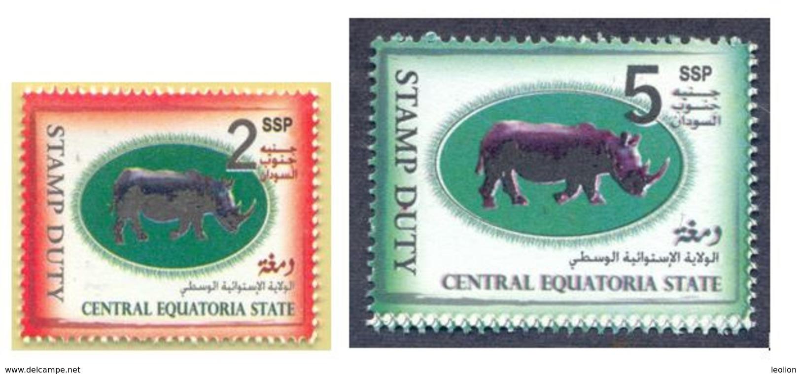 SOUTH SUDAN Short Set 2 & 5 SSP Revenue / Fiscal Stamp Central Equatoria State RHINO Timbres Fiscaux Soudan Du Sud RARE! - Zuid-Soedan