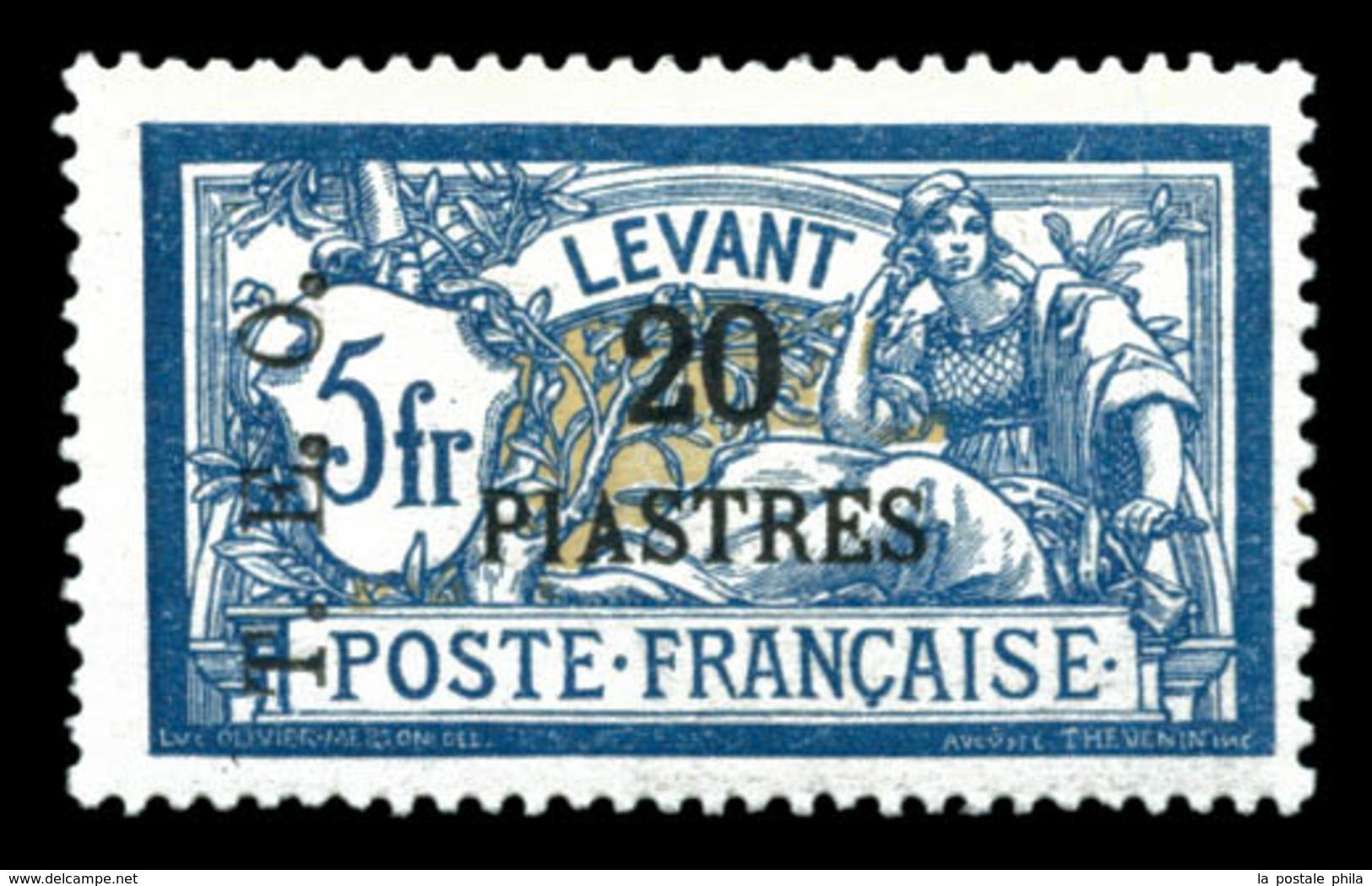 * N°20, 20 Pi S 5f Bleu Et Chamois, TB (signé Brun/certificat)  Qualité: *  Cote: 450 Euros - Unused Stamps