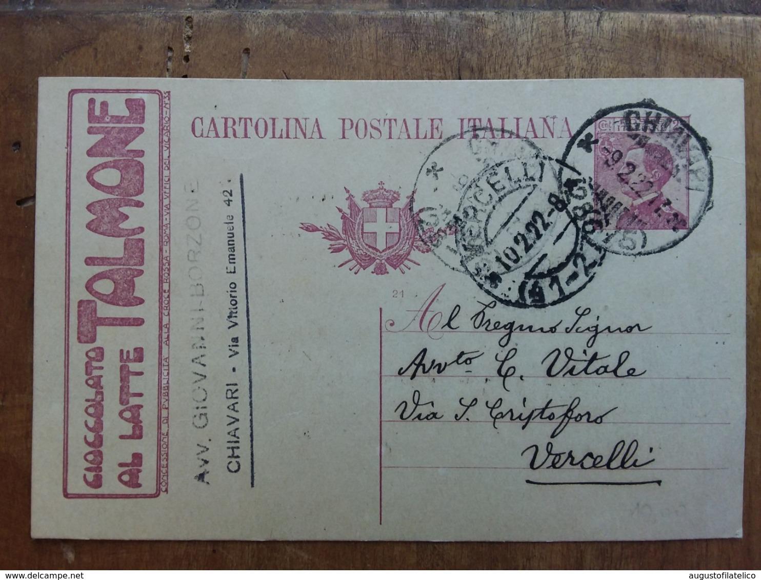 REGNO - Cartolina Pubblicitaria Talmone Viaggiata + Spese Postali - 1900-44 Vittorio Emanuele III