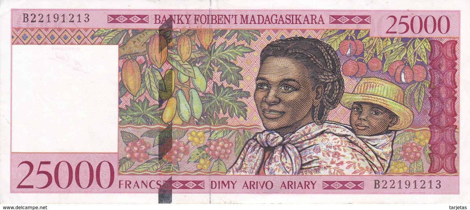 BILLETE DE MADAGASCAR DE 25000 FRANCS DEL AÑO 1998 CALIDAD EBC (XF) (BANKNOTE) LEMUR - Madagascar