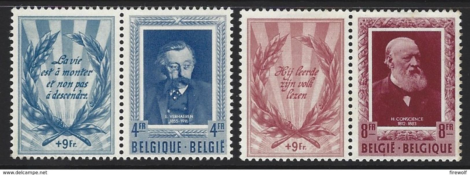 D11 - Belgium - 1952 - OBP 898/899 MH - Letterkundigen Verhaeren Conscience - Licht Roestplekje In Tanding - Belgium