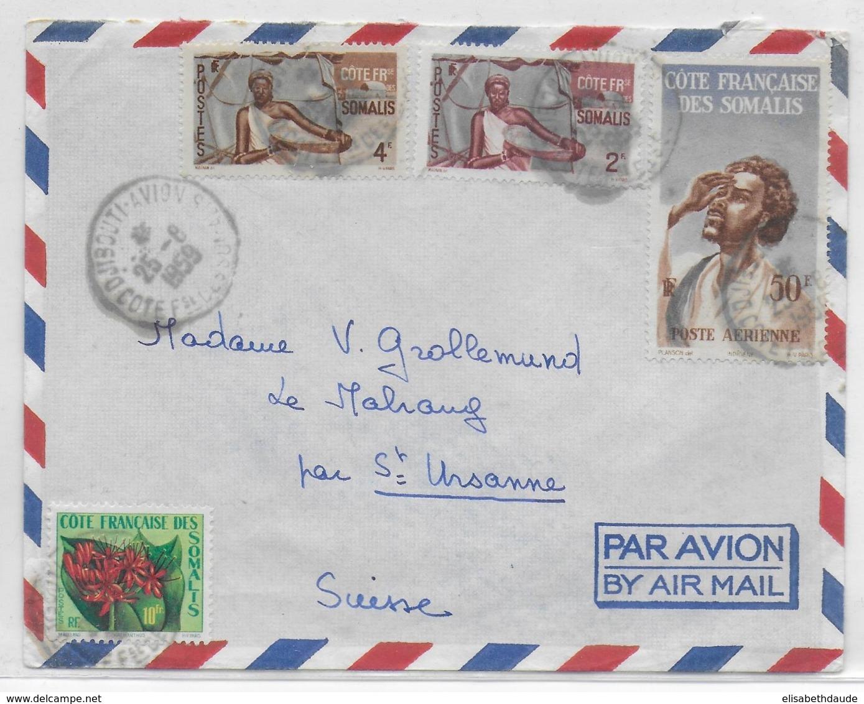 COTE DES SOMALIS - 1959 - ENVELOPPE Par AVION De DJIBOUTI => ST URSANNE (SUISSE) - Côte Française Des Somalis (1894-1967)