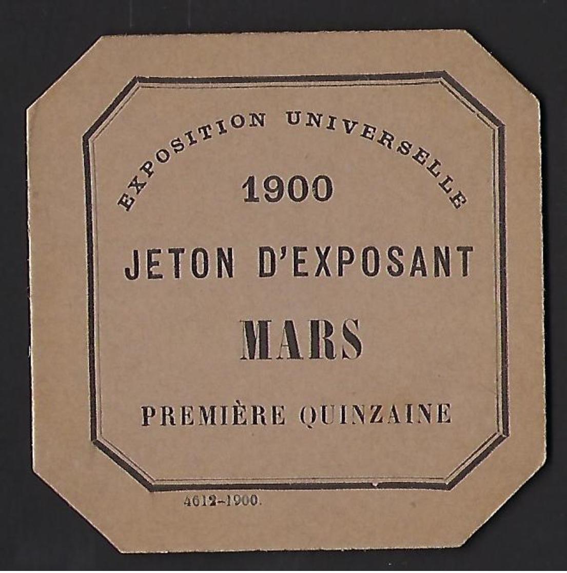 Ticket Jeton D'exposant Pour L'Exposition Universelle De 1900 - Tickets D'entrée