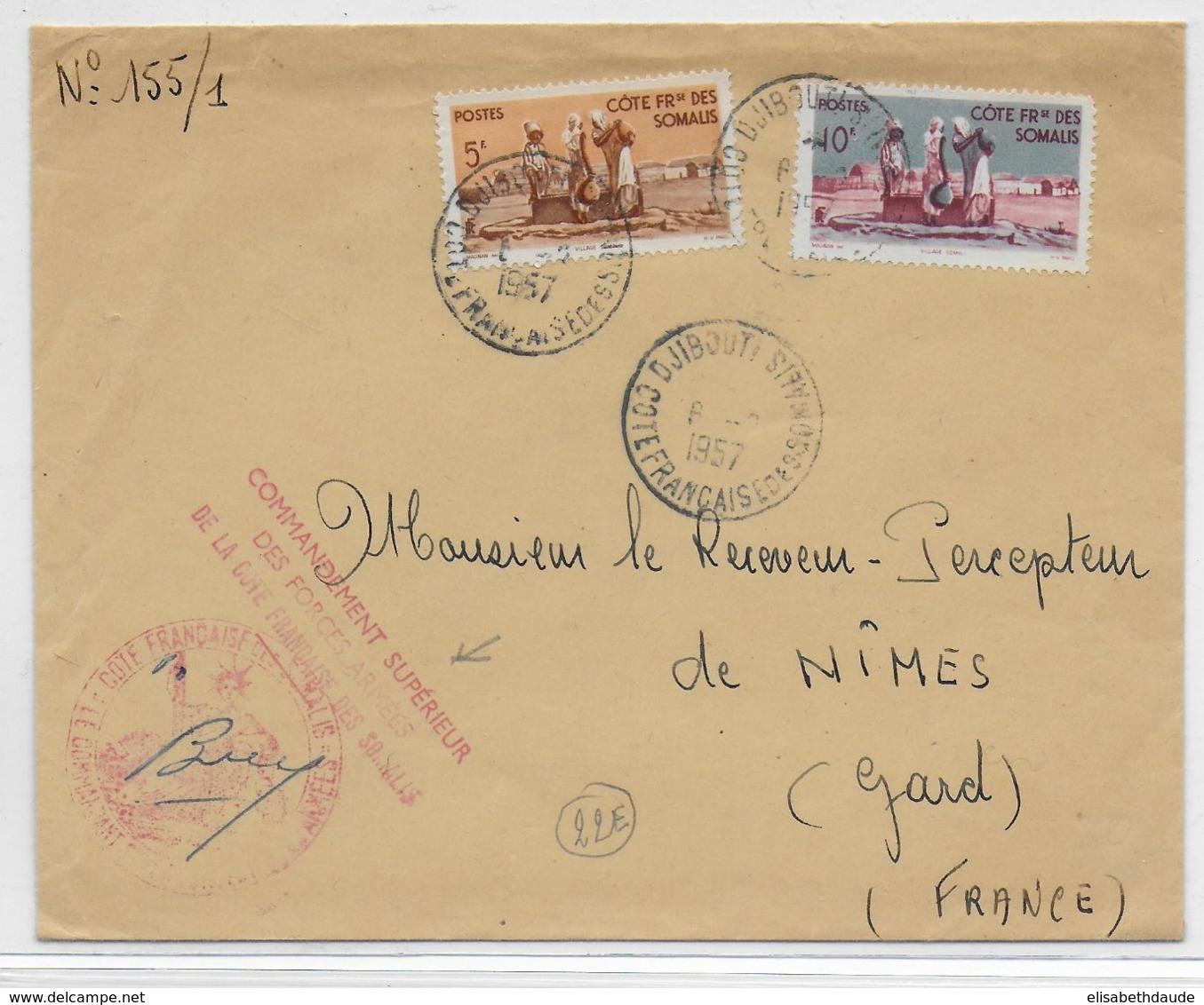 COTE DES SOMALIS - 1957 - ENVELOPPE Du COMMANDANT DES FORCES ARMEES De DJIBOUTI => NIMES - Côte Française Des Somalis (1894-1967)