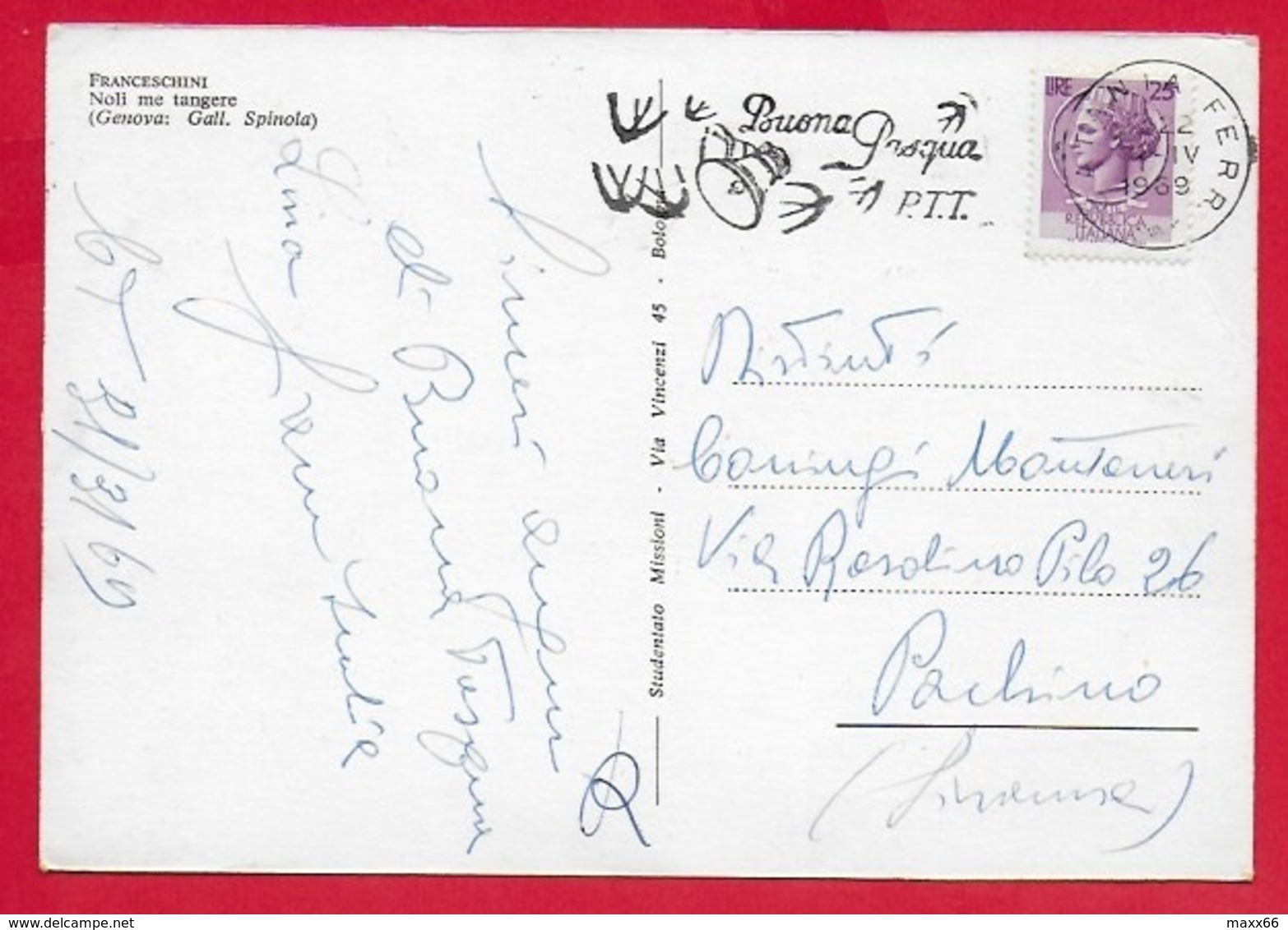 CARTOLINA VG ITALIA - Noli Me Tangere - FRANCESCHINI - Galleria Spinola GENOVA - 10 X 15 - 1969 - Pittura & Quadri