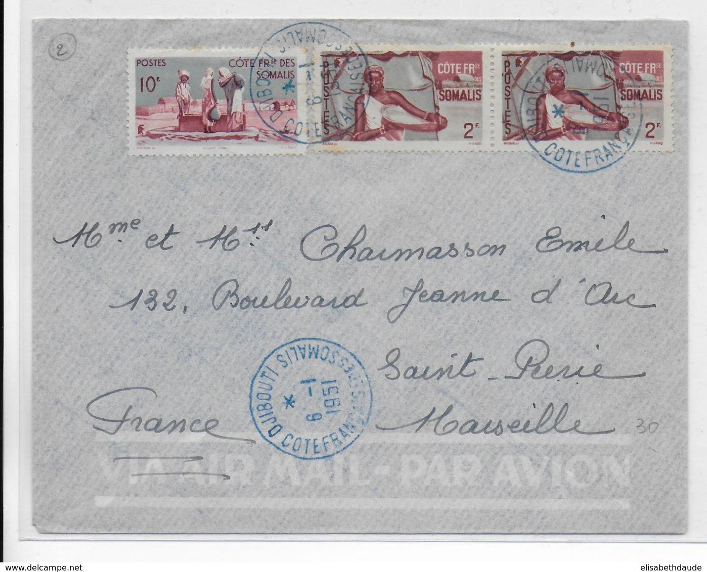 COTE DES SOMALIS - 1951 - ENVELOPPE Par AVION De DJIBOUTI => MARSEILLE - Côte Française Des Somalis (1894-1967)
