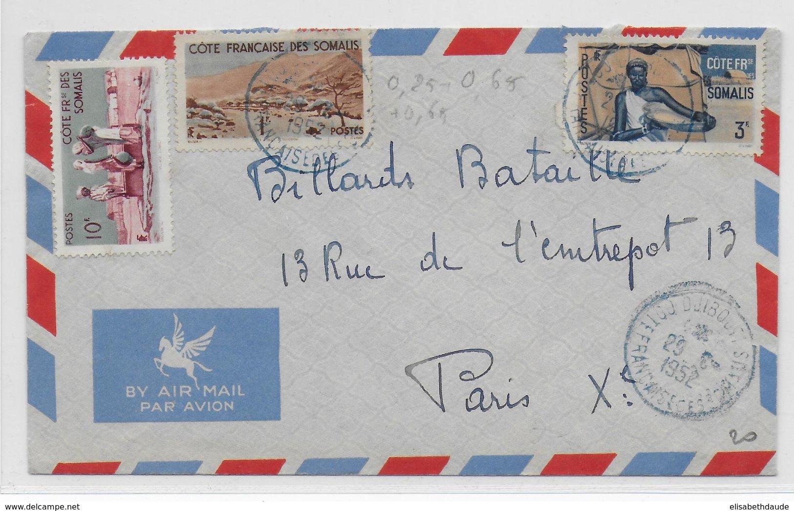 COTE DES SOMALIS - 1952 - ENVELOPPE Par AVION De DJIBOUTI => PARIS - Côte Française Des Somalis (1894-1967)
