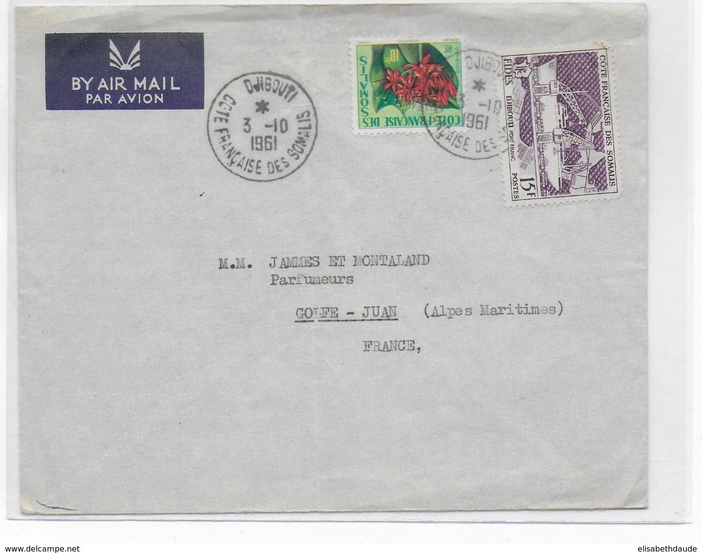 COTE DES SOMALIS - 1961 - ENVELOPPE Par AVION De DJIBOUTI => GOLFE JUAN - Côte Française Des Somalis (1894-1967)