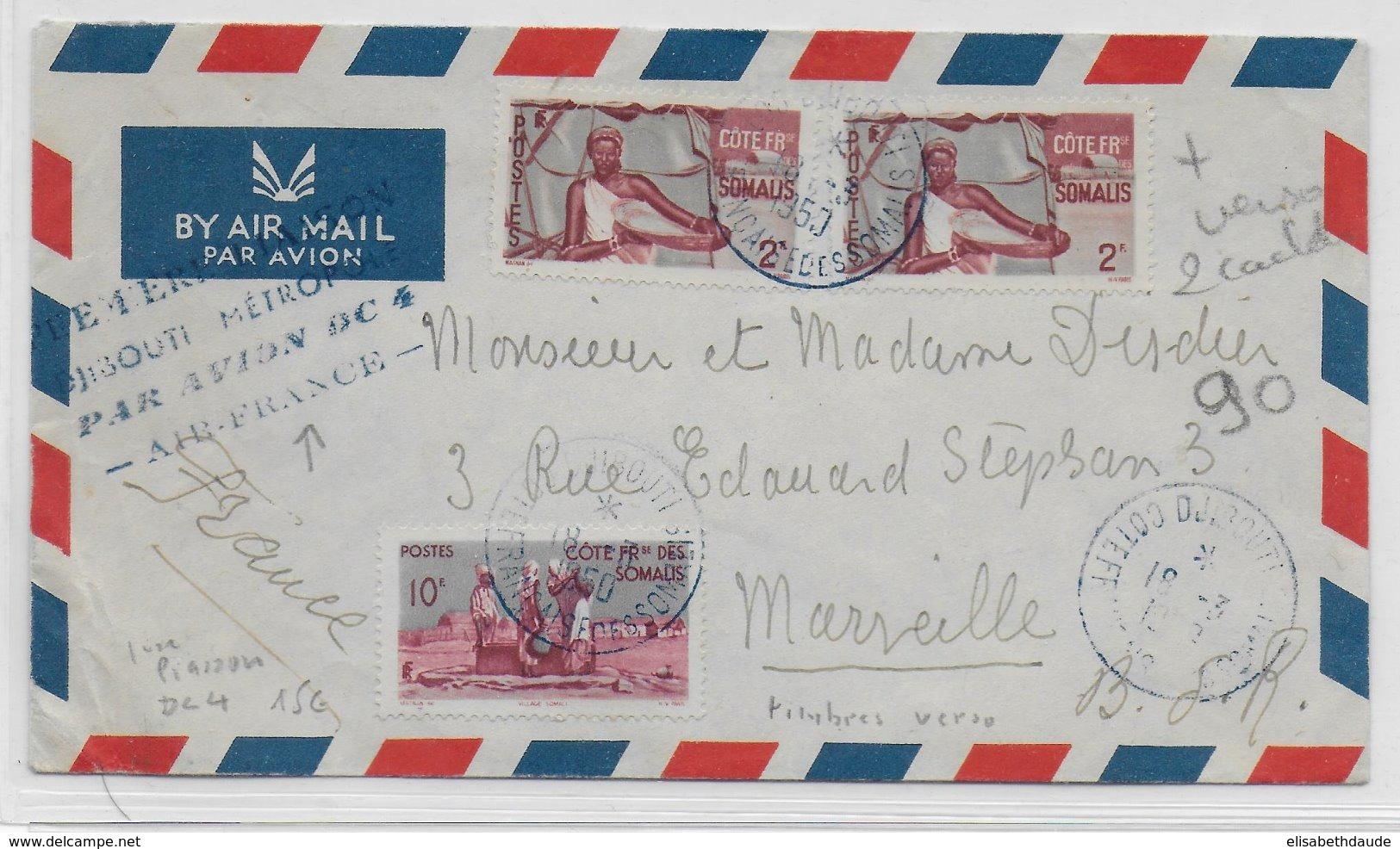 COTE DES SOMALIS - 1950 - ENVELOPPE Par AVION 1° VOL DJIBOUTI METROPOLE Par DC4 AIR FRANCE De DJIBOUTI => MARSEILLE - Côte Française Des Somalis (1894-1967)