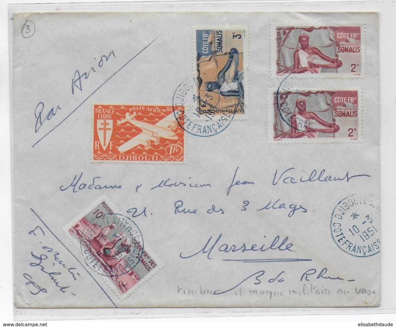 COTE DES SOMALIS - 1951 - ENVELOPPE Par AVION De DJIBOUTI CACHET De VAGUEMESTRE AU DOS => MARSEILLE - Côte Française Des Somalis (1894-1967)