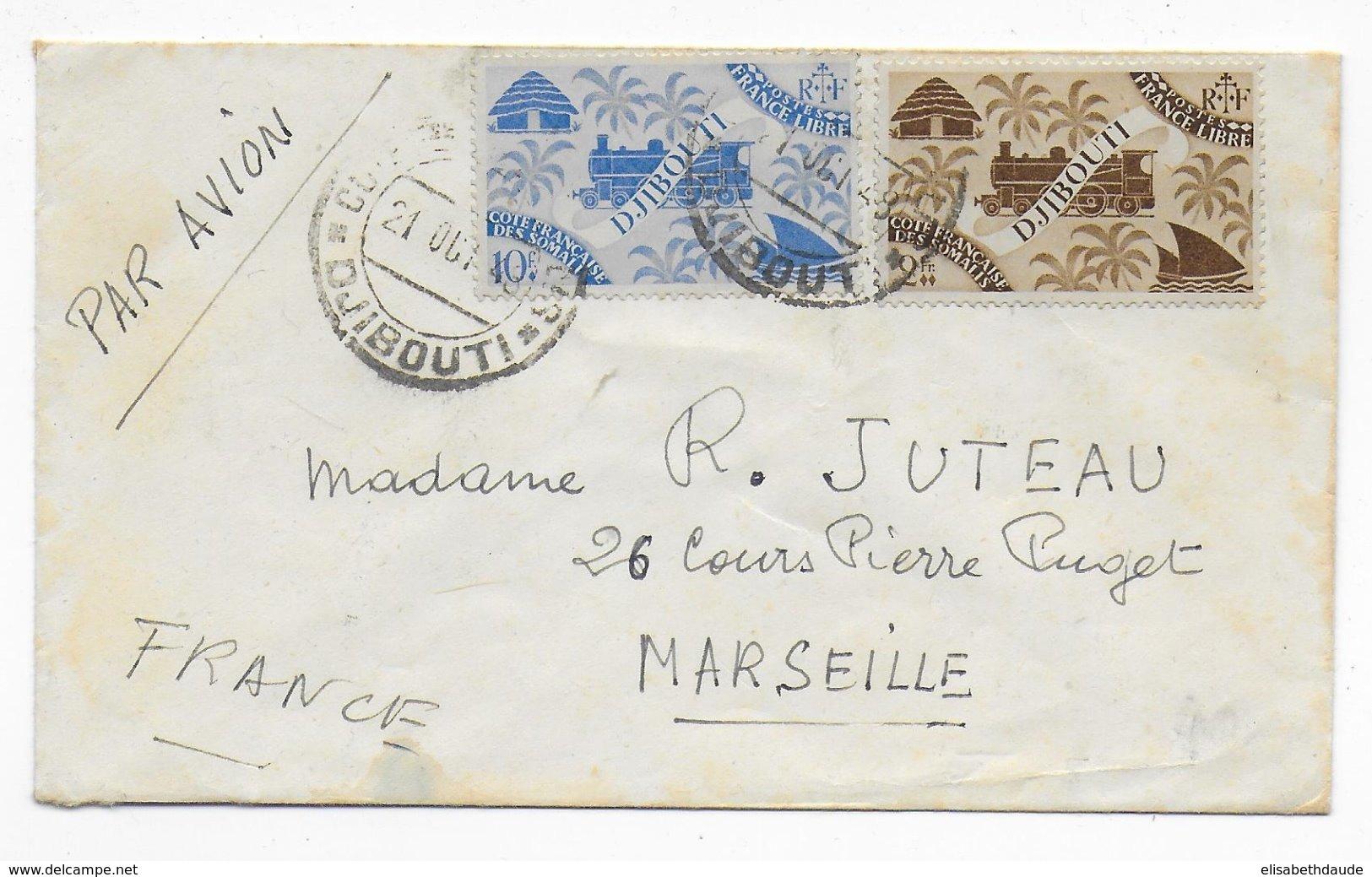 COTE DES SOMALIS - 1948 - ENVELOPPE PETIT FORMAT Par AVION De DJIBOUTI  => MARSEILLE - Lettres & Documents