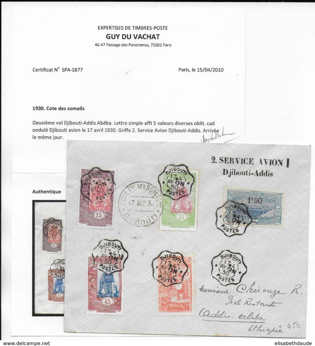 COTE DES SOMALIS - 1930 - ENVELOPPE 2° VOL DJIBOUTI ADDIS-ABEBA De DJIBOUTI  => ETHIOPIE - CERTIFICAT PHOTO - Côte Française Des Somalis (1894-1967)