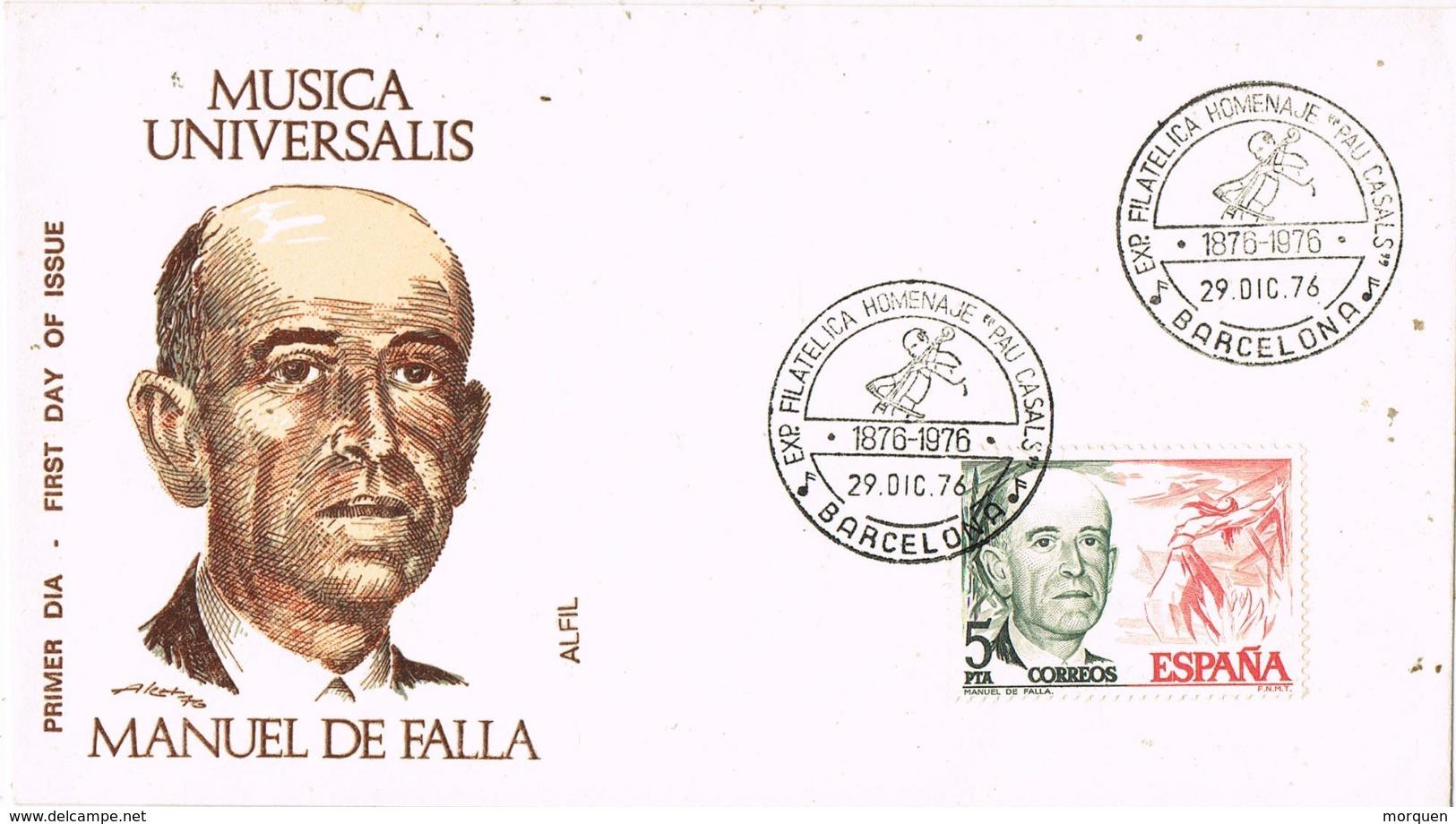 33902. Carta Exposicion BARCELONA 1976, MANUEL De FALLA, Centenarios - 1931-Hoy: 2ª República - ... Juan Carlos I