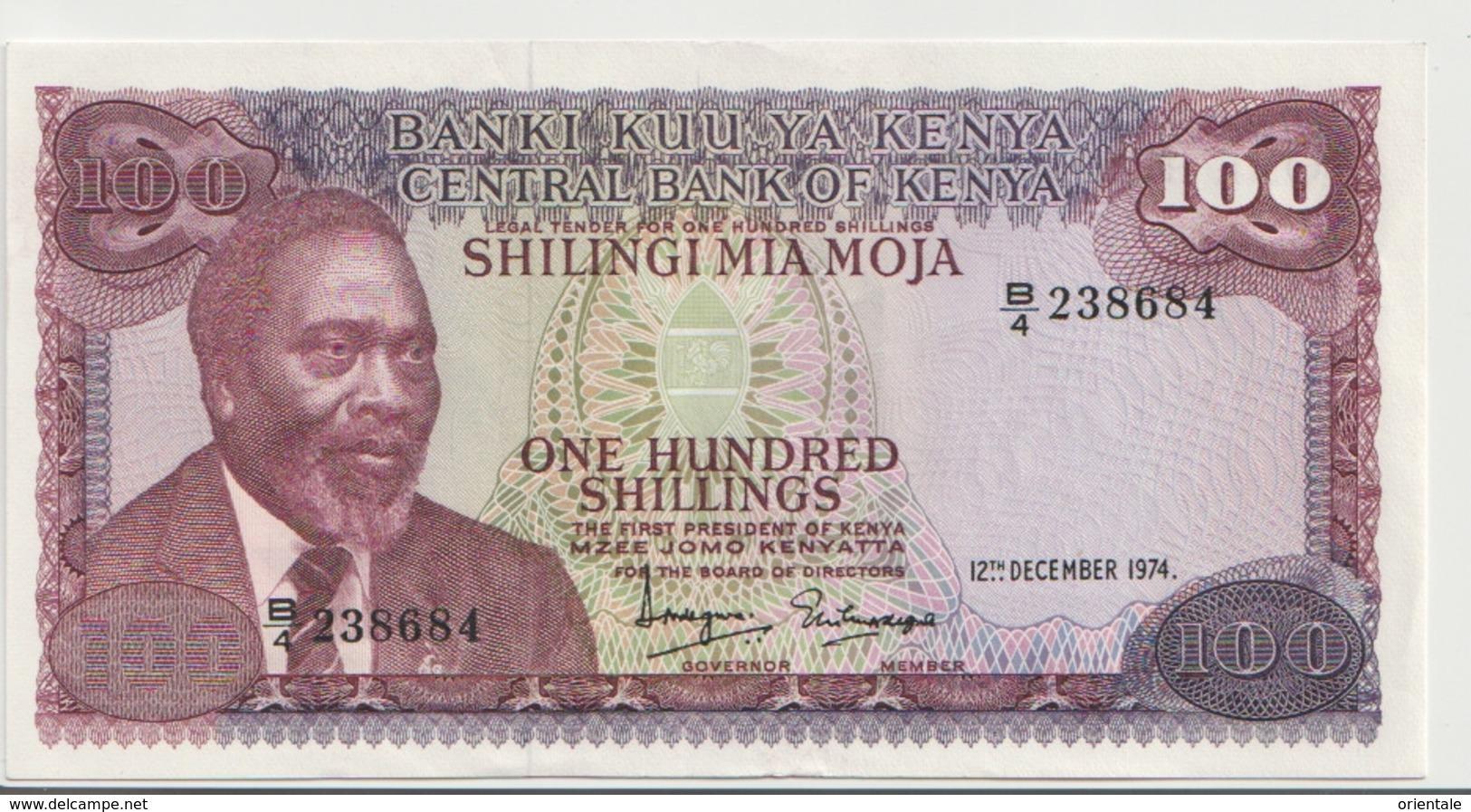 KENYA P. 14a 100 S 1974 AUNC - Kenya