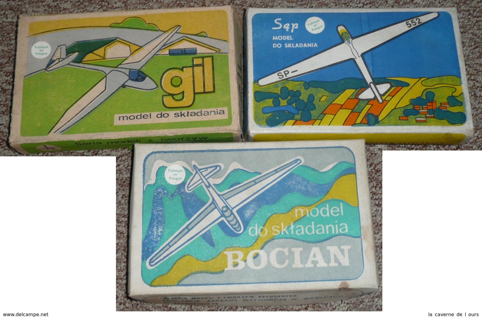 Rare Lot De 3 Anciennes Maquettes NEUVES, De Planeurs 1/72e Pologne, Gil Sep Bocian - Other
