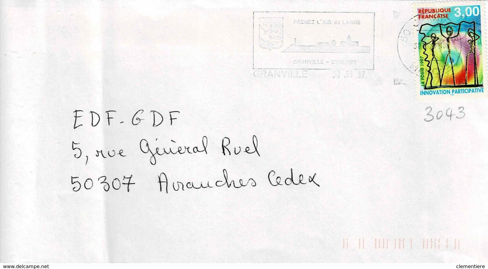 TP  3043 Seul  Sur Enveloppe De Granville - Poststempel (Briefe)