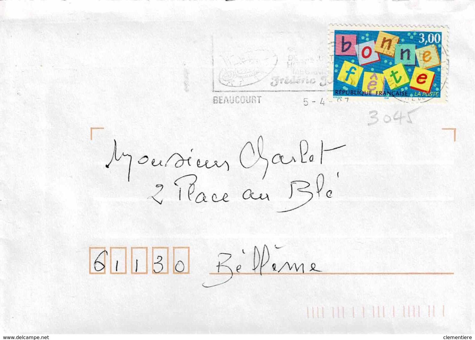 TP  3045 Seul  Sur Enveloppe De Beaucourt - Marcophilie (Lettres)