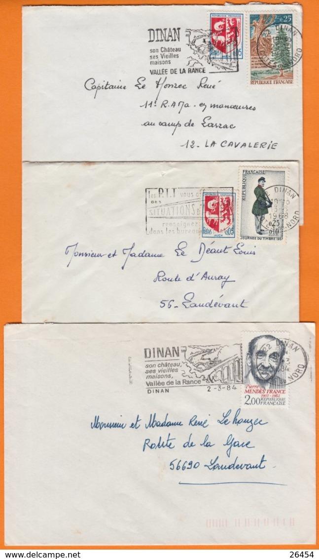 22 COTES Du NORD  Lot De 3 Lettres De 22 DINAN   Années Mélangées  Avec Affranchissements Divers - Marcophilie (Lettres)