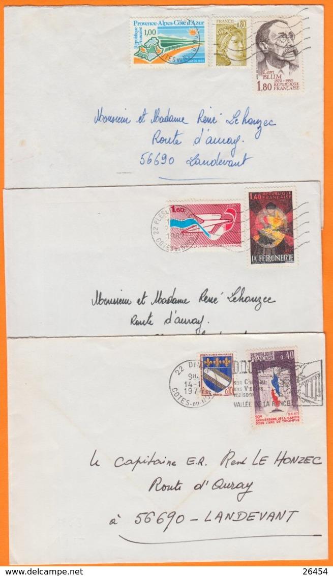 22 COTES Du NORD  Lot De 3 Lettres  Années Mélangées Pour 56690 LANDEVANT    Avec Affranchissements Divers - 1961-....